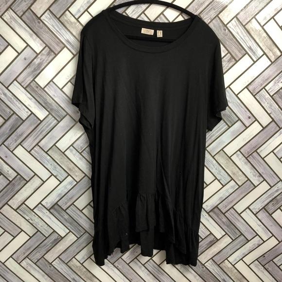 LOGO Black Ruffle Bottom Short Sleeve Tunic